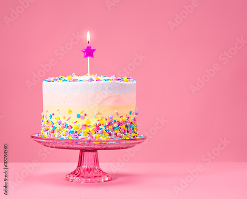 Colorful Birthday Cake with Sprinkles - 118764560