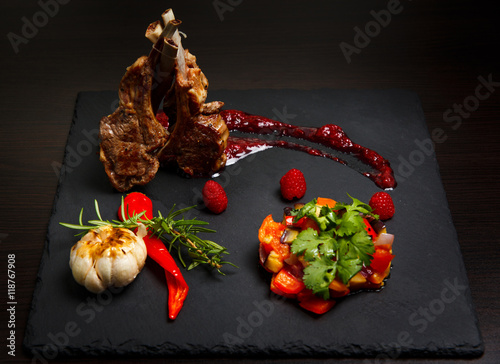 Rack of lamb in a raspberry sauce with vegetable Ratatouille