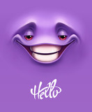 Emoticon background. Happy expressive smiling cartoon face with big teeth on purple background. Vector illustration