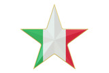 Star with flag of Italy, 3D rendering