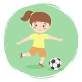 Vector illustration of kid want to kick the ball isolated on green white background.
