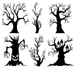 Set of spooky Halloween tree cartoon