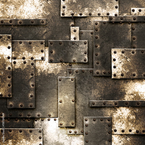 rusty fix wall. grunge metal background. - 118784549