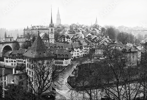 Plakát View on Old City of Bern in the rain, Switzerland