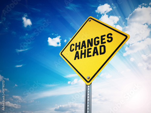 Changes ahead sign against blue sky. 3D illustration