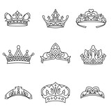 Crown vector set.