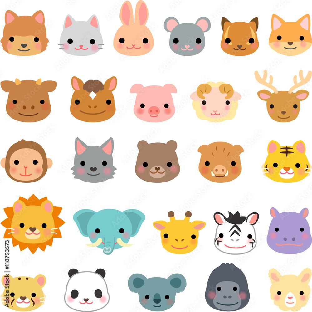 plakaty - 動物の顔のイラストセット #118793573