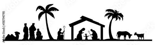 Weihnachtskrippe mit Maria und Josef