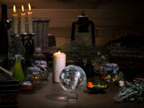 Mystical still life - the magic ball, candles, herbs. Many  items and utensils alchemist. Concept - , witch board, alternative medicine, occult  witchcraft. Halloween