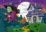Witch on broom theme image 4