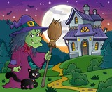 Witch with cat and broom theme image 4