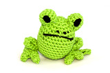 Knitted toy frog on white background