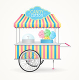 Cotton Candy Street Market Stall. Vector