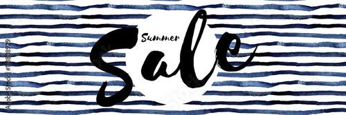 Summer Sale - Typographie auf blauen stylishem Hintergrund - Banner