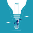 Big Idea. Businessman flying in a hot air balloon. Concept illustration