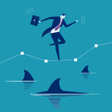 Among Sharks. Businessman balancing over water full of sharks. Concept business illustration