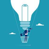 Big Idea. Businessman flying in a hot air balloon. Concept illustration  - 118819749