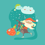 Funny Santa Claus with reindeer