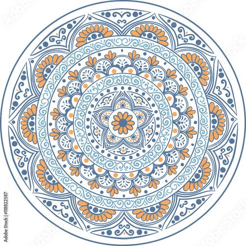 Zdjęcia na płótnie, fototapety, obrazy : Drawing of a floral mandala in blue and orange colors on a white background