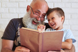 Bearded aged man and his grandson having fun reading a book toge