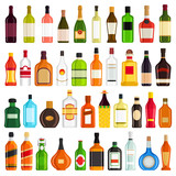 Alcoholic Drinks Bottles Vector Set