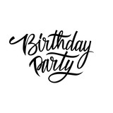 Handwritten words Birthday Party. Hand drawn elements for your design. Vector illustration.
