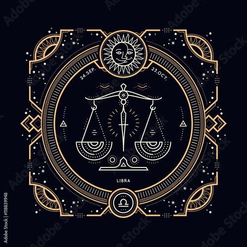 Vintage thin line Libra zodiac sign label  Retro vector