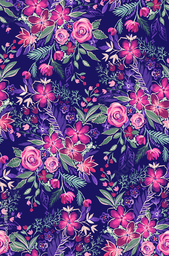 dark and dramatic wild flowers pattern.