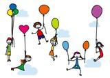 Fototapety Kinder mit Luftballons