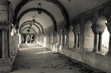 A black and white perspective of a historic hallway  of the Fisherman