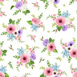 Vector seamless pattern with pink, purple, blue and white lisianthuses, freesia and forget-me-not flowers.