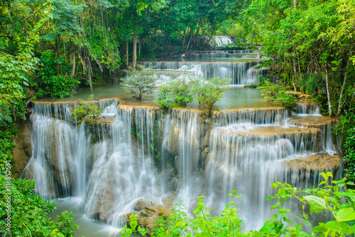 Huay Mae Khamin waterfall, famous natural tourist attraction in Kanchanaburi Thailand.
