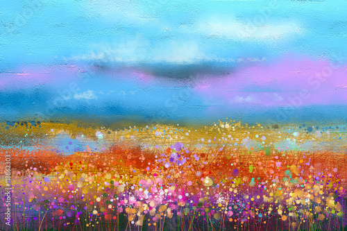 Obraz Abstract colorful oil painting landscape background. Semi abstract image of wildflower and field. Yellow and red wildflowers at meadow with blue sky. Spring, summer season nature background