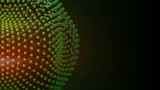 Green balls particles vibrating. Computer generated seamless loop animation. Abstract 3D render
