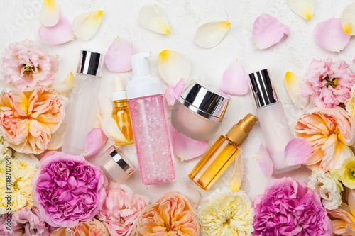 cosmetic set and flowers