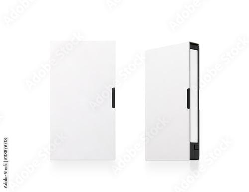 Blank white video cassette tape box mockup, isolated, 3d rendering.