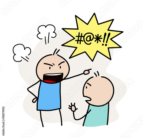 Anger Management. A hand drawn vector doodle illustration of an angry stick figure and yelling bad words.