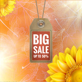 Sunflower on autumn foliage with sale tag. EPS 10