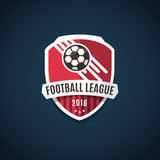 Fototapety Football league logo, labels, emblems and design elements for sport team 2016. Vector illustration.