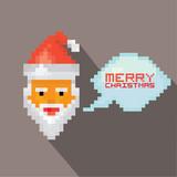 Vector Merry Christmas pixel art santa claus