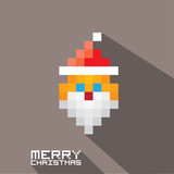 Vector Merry Christmas pixel art santa claus