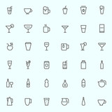Drink icons, simple and thin line design