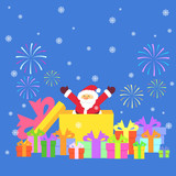 santa claus and gift boxes, vector