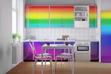 Küche in den Farben vom Regenbogen