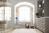 Elegantes Badezimmer mit Badewanne am Fenster