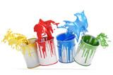 Vier Eimer Farbe mit bunten Spritzern - 118888975