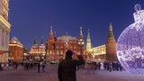 Christmas installation on Manezhnaya square, Historical museum and Kremlin towers timelapse hyperlapse