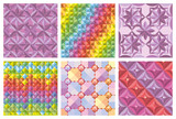 Vector set of abstract seamless patterns and backgrounds