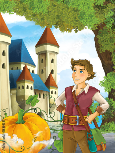 Foto op Aluminium Kasteel Cartoon scene with a young brave man - halloween - traveler - stage for different fairy tales - beautiful castle - illustration for children