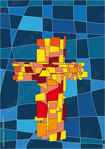 Naklejka Das Kreuz als Symbol für Christus. Illustration im stiele eines modernen Kirchenfenster.